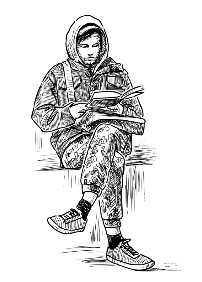 Hand drawing of a student reading a book on a park bench stock illustration