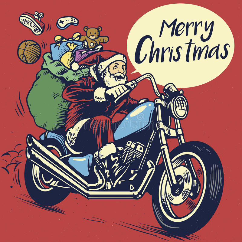 Hand drawing style of santa claus ride a motorcycle to delivering the christmas gift. Vector of hand drawing style of santa claus ride a motorcycle to delivering royalty free illustration