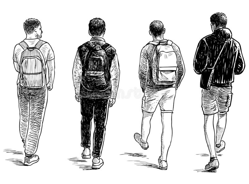 Hand drawing of the teens students going to school. Sketch of of the student friends walking down the street stock illustration