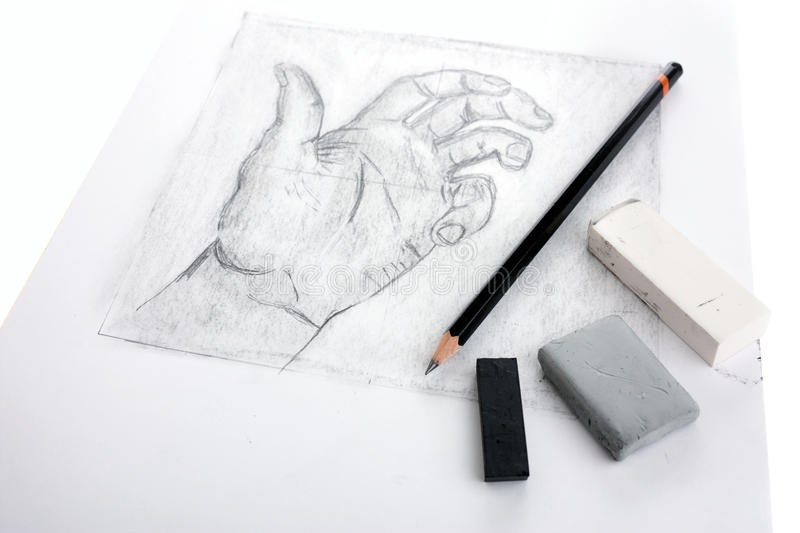 Hand drawing with tools stock photo