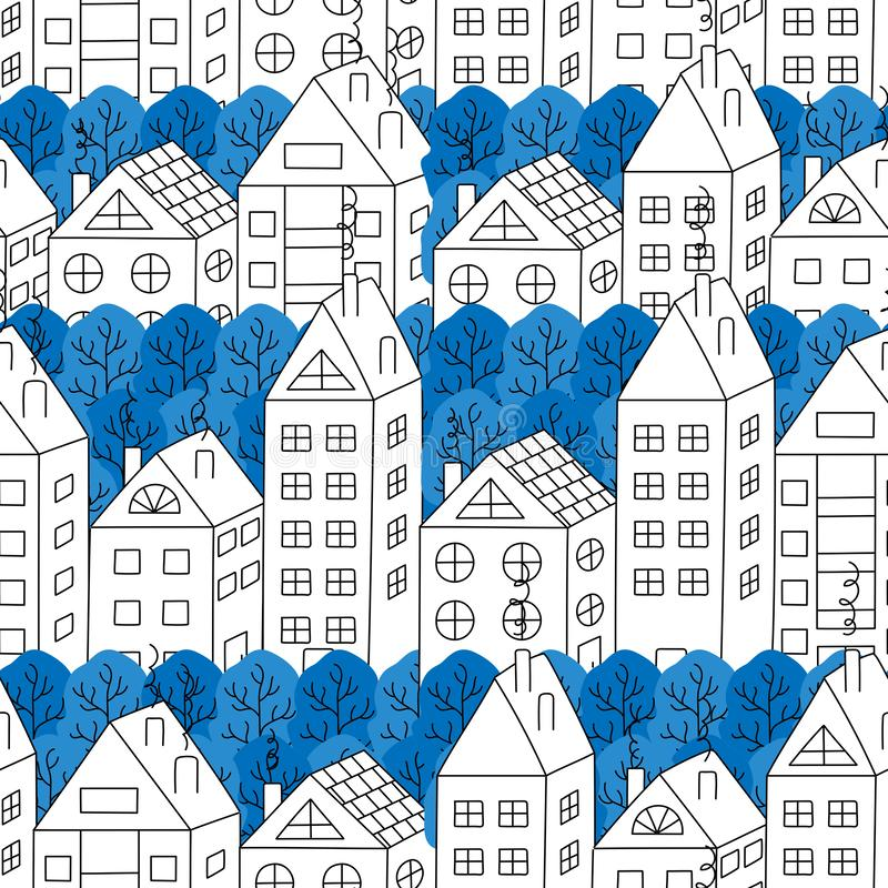 Hand-drawing of town houses and trees seamless pattern. stock illustration