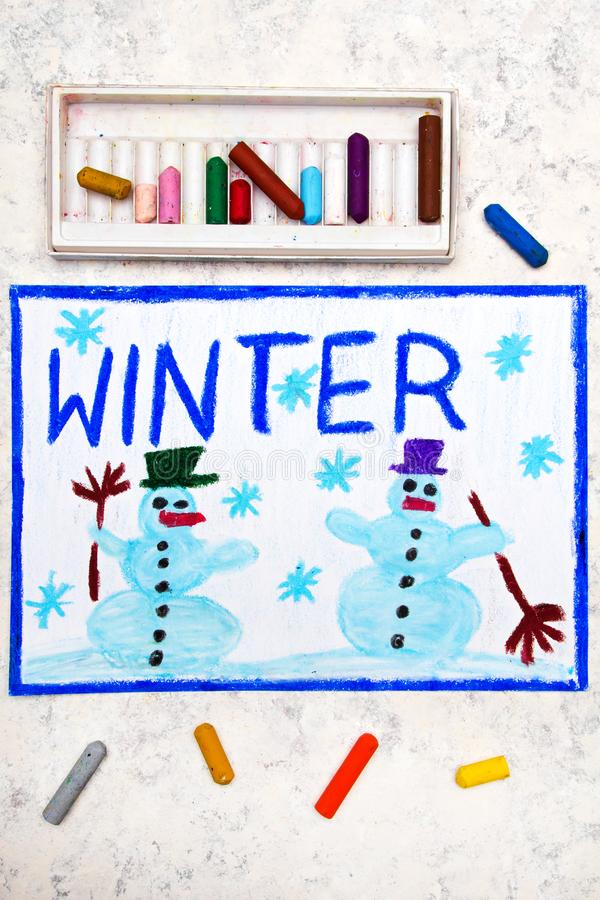 Hand drawing: Two smiling snowmans. Colorful hand drawing: Two smiling snowmans and word WINTER stock images