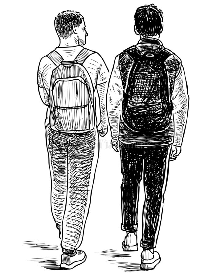 Hand drawing of two students boy going to school. Sketch of the students friends walking down the street stock illustration