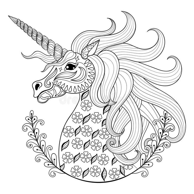 Hand drawing Unicorn for adult anti stress coloring pages. Artistic fairy tale magic animal in zentangle tribal style, patterned illustartion, tattoo isolated
