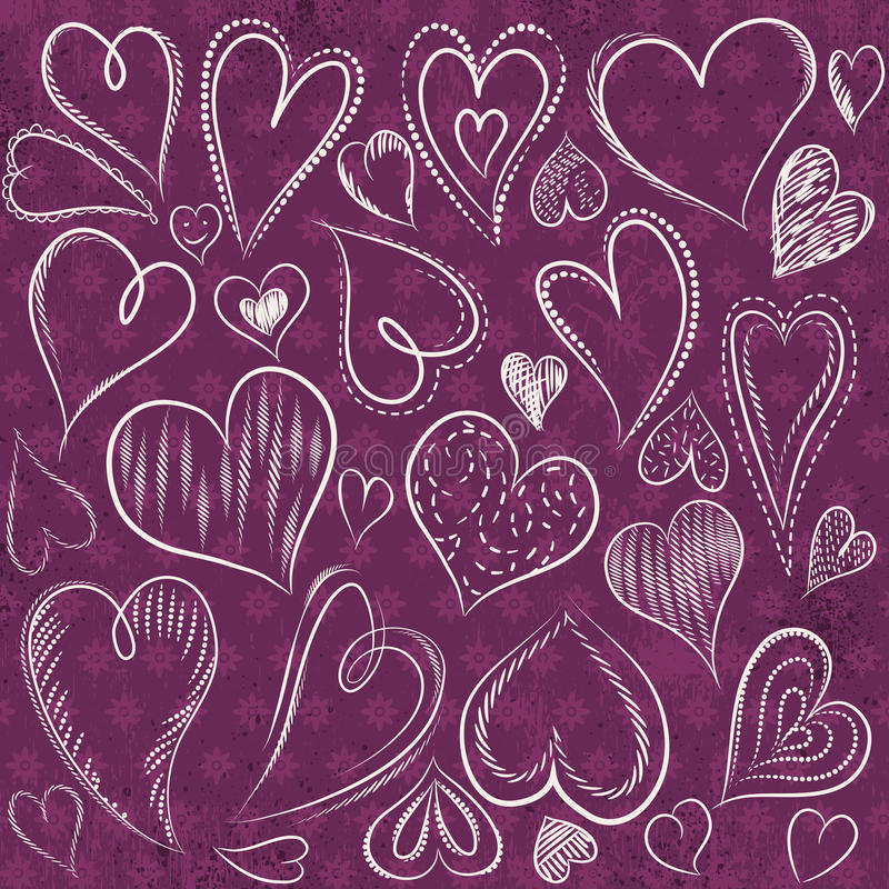 Hand drawing valentines heart, vector royalty free stock images