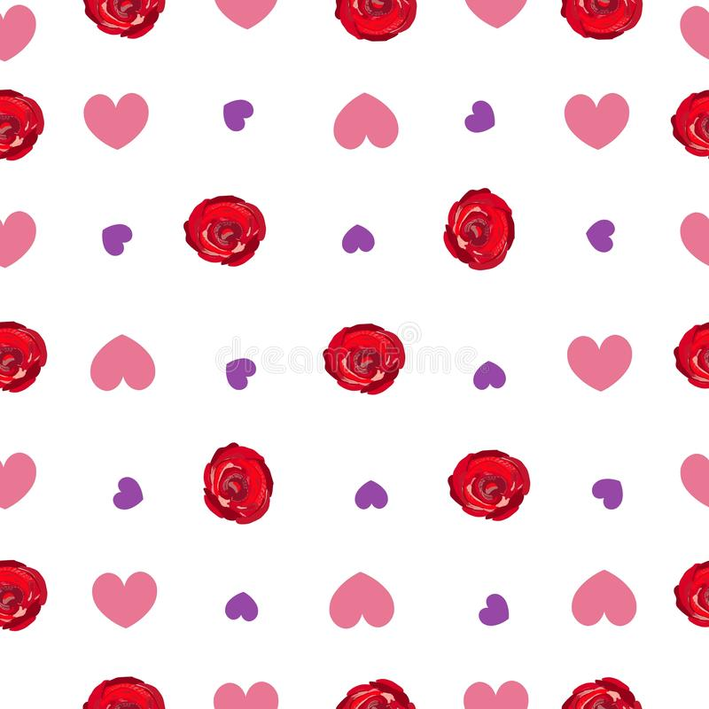 Hand drawing vibrant colored red roses, hearts repeated romantic pattern royalty free illustration