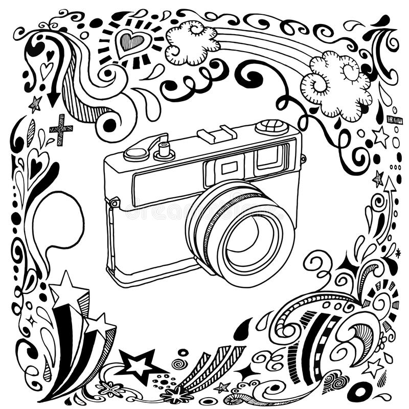 Hand Drawing Vintage Camera With Ornamental Stock Vector ...