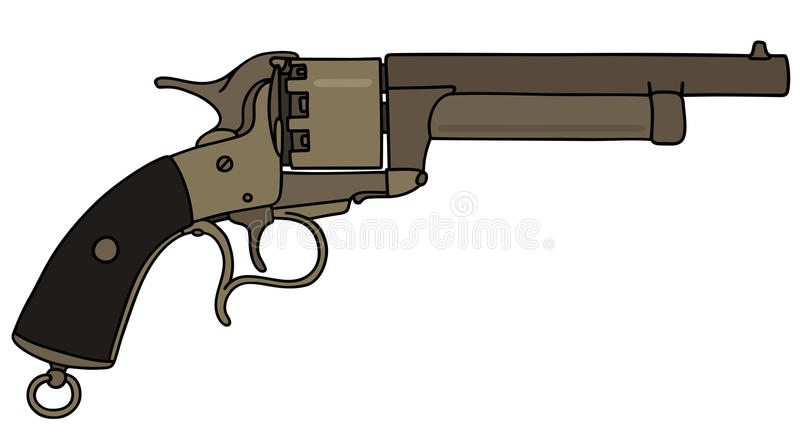 Vintage american revolver. Hand drawing of a vintage revolver vector illustration