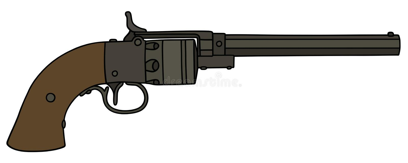 Vintage long revolver. Hand drawing of a vintage revolver royalty free illustration