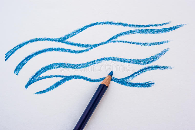 Hand drawing water with pencil stock photo