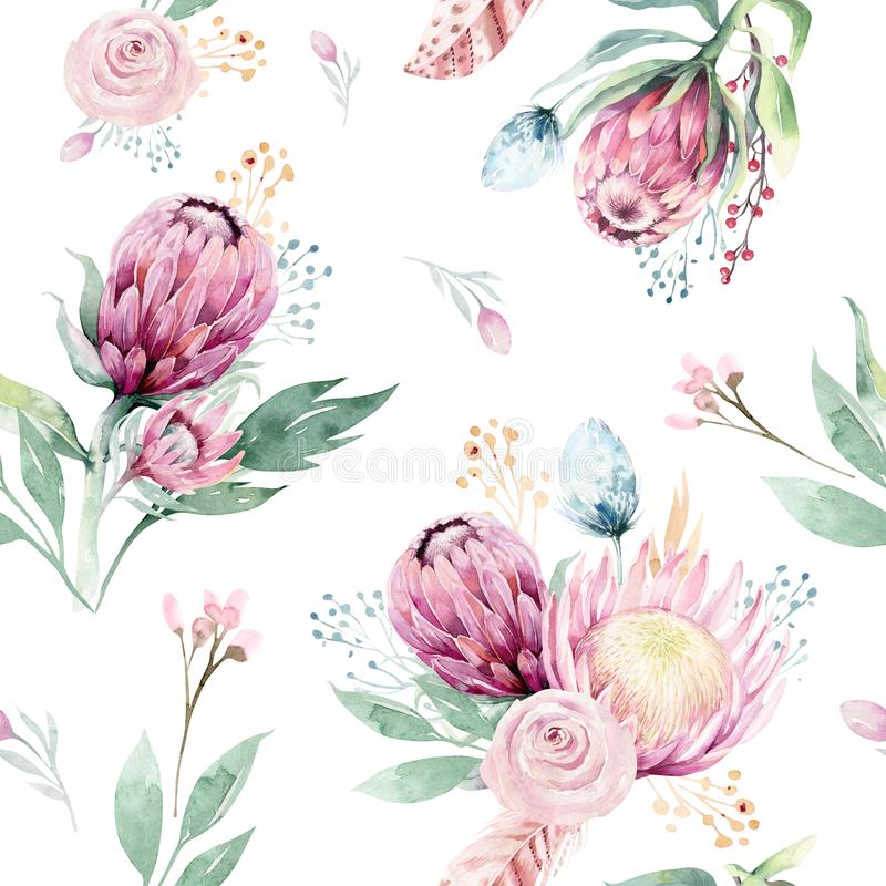 Hand drawing watercolor floral pattern with protea rose, leaves, branches and flowers. Bohemian seamless gold pink vector illustration