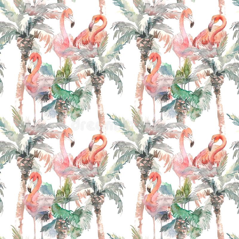 Watercolor seamless pattern of palm with flamingo on white background, Hand drawn illustration for your design. For. Hand drawing watercolor palm tree with vector illustration