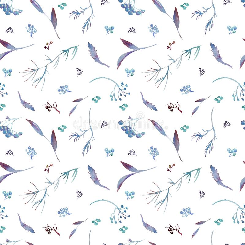 Hand drawing watercolor rowan autumn leaves seamless pattern. Hand drawing watercolor beautiful rowan autumn leaves seamless pattern stock photos