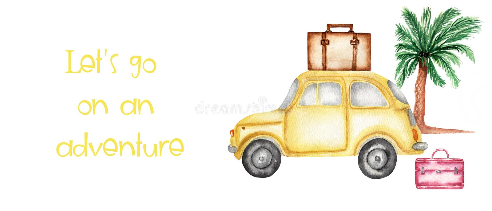Hand drawing watercolor set for travel - suitcases,car and palm tree. illustration isolated on white. Travel card with space for royalty free illustration