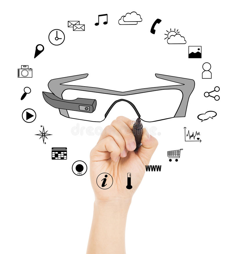 Hand drawing a wearable glasses applications chart. Over white background royalty free stock image
