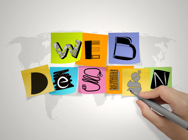 Hand drawing web design on sticky note stock photography
