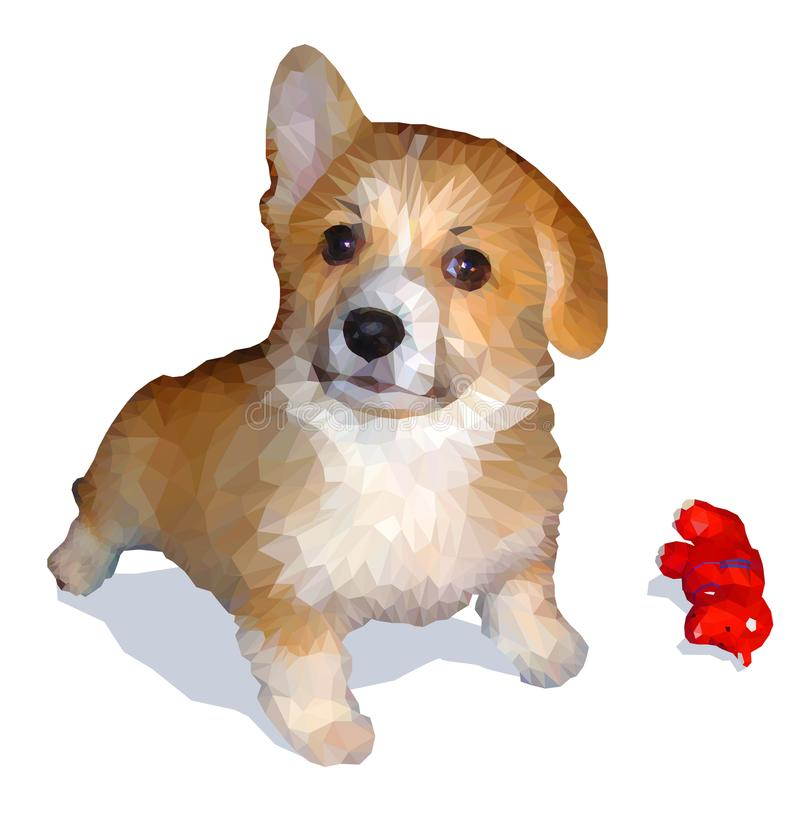 Hand drawing of Welsh Corgi in low-polygon style. royalty free stock photo