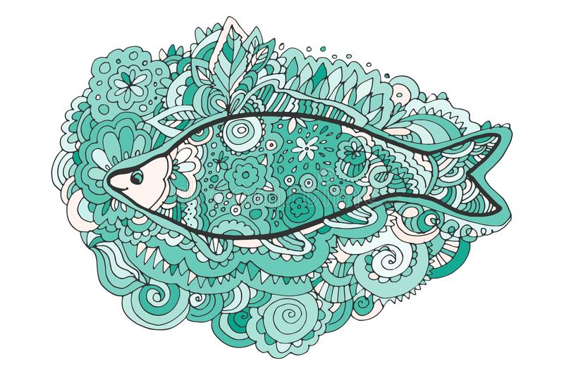 Hand drawing zentangle. Decorative, abstract fish tail. Coloring book. stock illustration