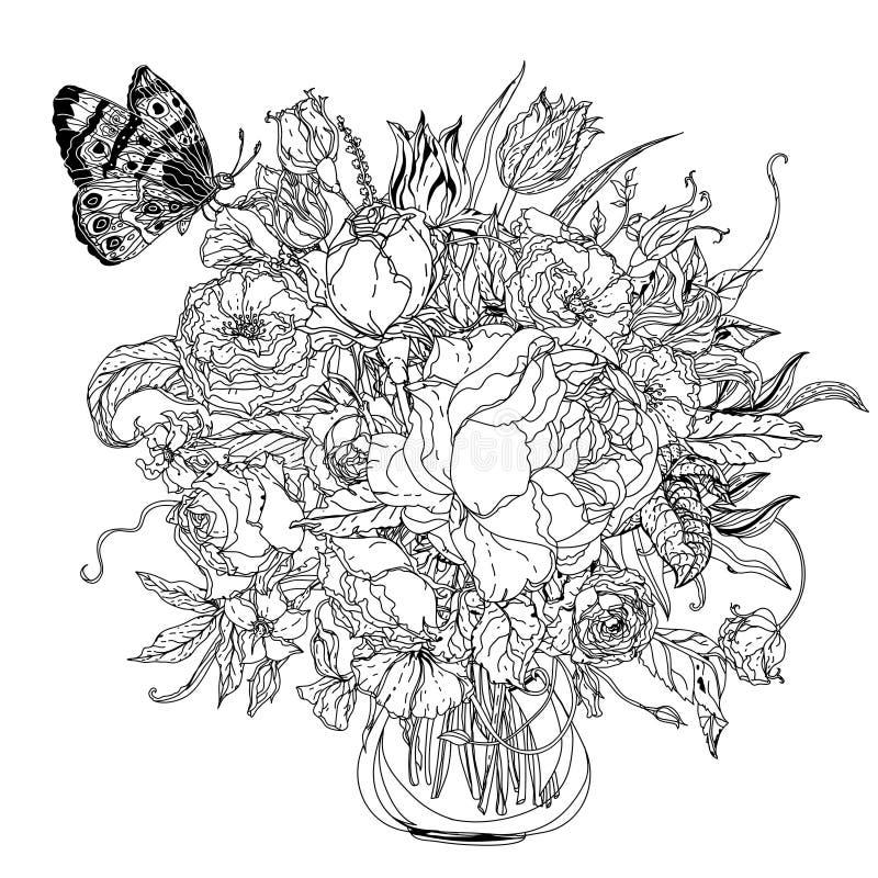 Hand Drawing Zentangle Element. Black And White. Flower Mandala ...
