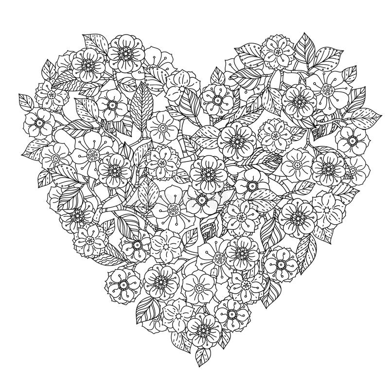 Hand drawing zentangle element. Black and white stock illustration