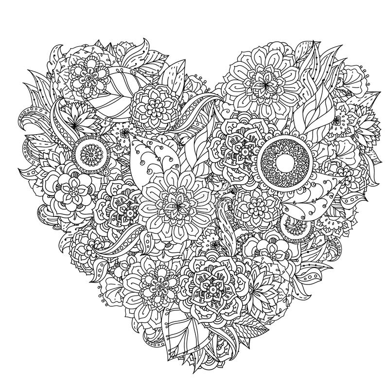 Hand drawing zentangle element. Black and white vector illustration