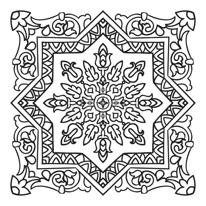 Free Hand Drawing Zentangle Mandala Element. Italian Majolica Style Royalty Free Stock Photography - 56016067