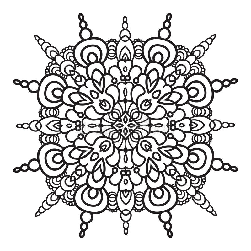 Free Hand Drawing Zentangle Mandala Element. Italian Majolica Style Royalty Free Stock Image - 58813686