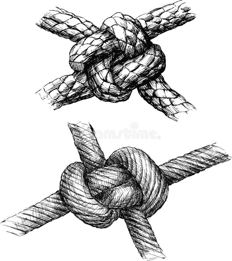 Hand drawings of various sea knots stock illustration