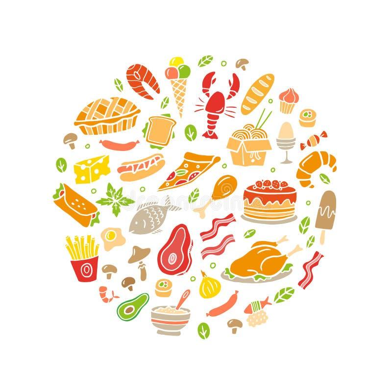 Hand-drawn κρέας doodle, ψάρια, λαχανικά και εικονίδια πιάτων καθορισμένα απεικόνιση αποθεμάτων