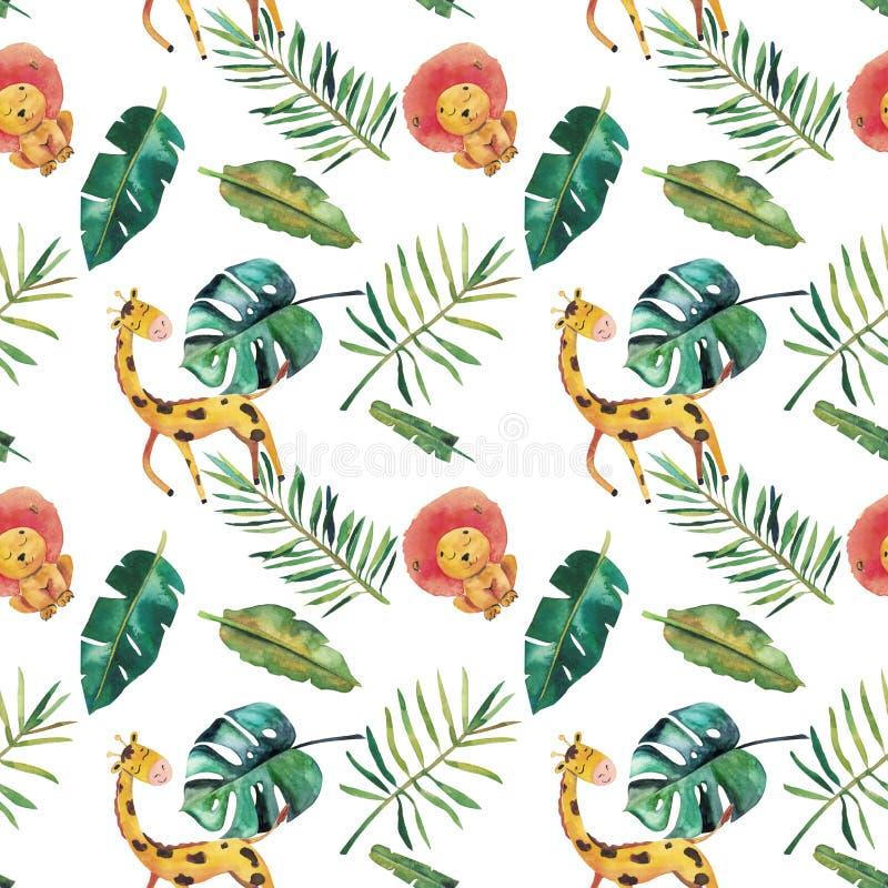 Hand-drawn άνευ ραφής σχέδιο watercolor Πράσινα τροπικά φύλλα και άγρια ζώα στο άσπρο υπόβαθρο απεικόνιση αποθεμάτων