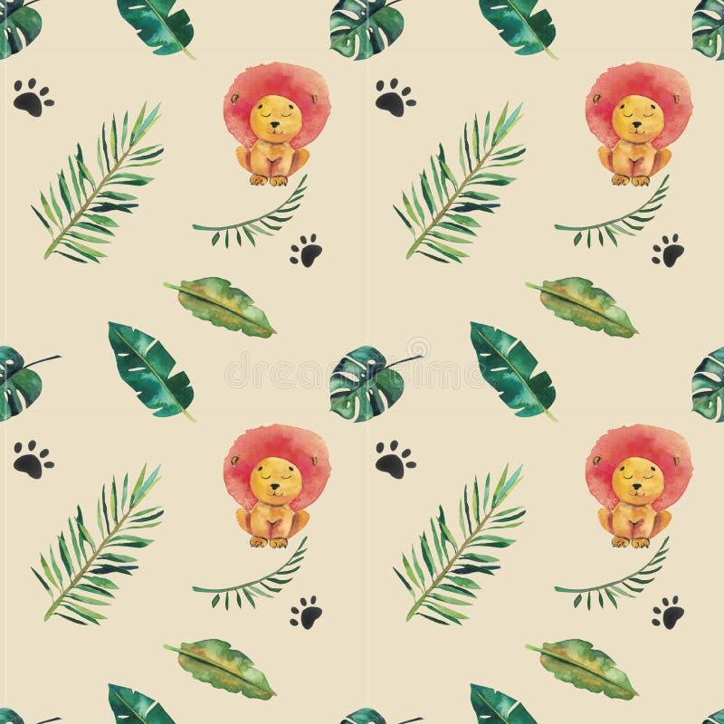 Hand-drawn άνευ ραφής σχέδιο watercolor Πράσινα τροπικά φύλλα και άγρια ζώα διανυσματική απεικόνιση