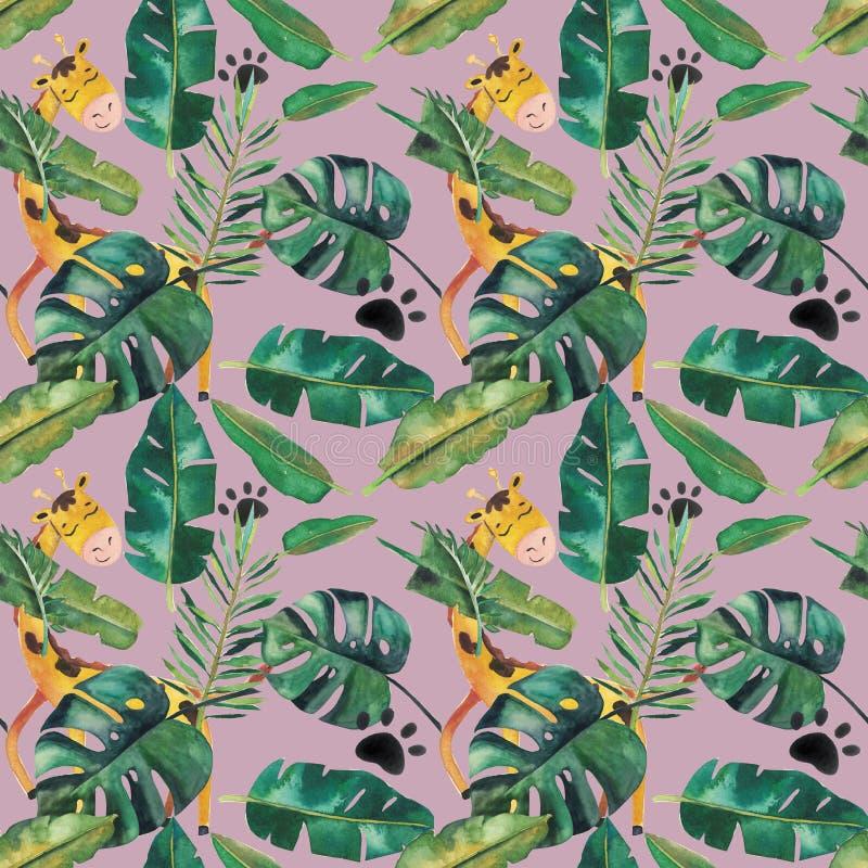 Hand-drawn άνευ ραφής σχέδιο watercolor Πράσινα τροπικά φύλλα και άγρια ζώα ελεύθερη απεικόνιση δικαιώματος