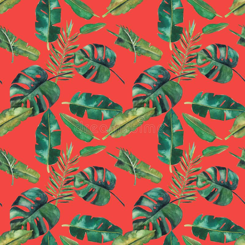 Hand-drawn άνευ ραφής σχέδιο watercolor Πράσινα τροπικά φύλλα διανυσματική απεικόνιση