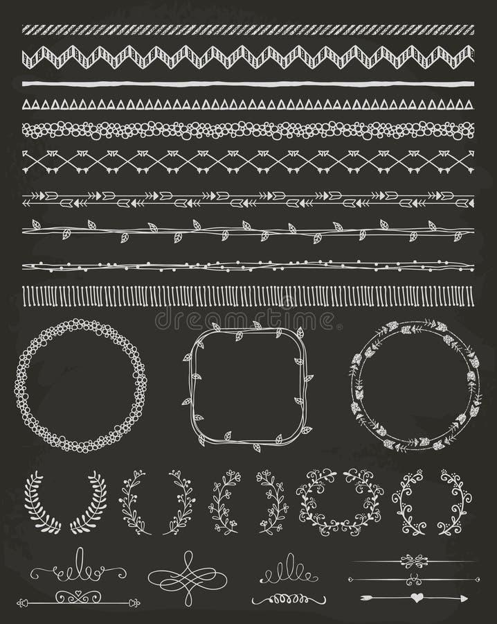 Hand-Drawn άνευ ραφής σύνορα και στοιχεία σχεδίου διανυσματική απεικόνιση