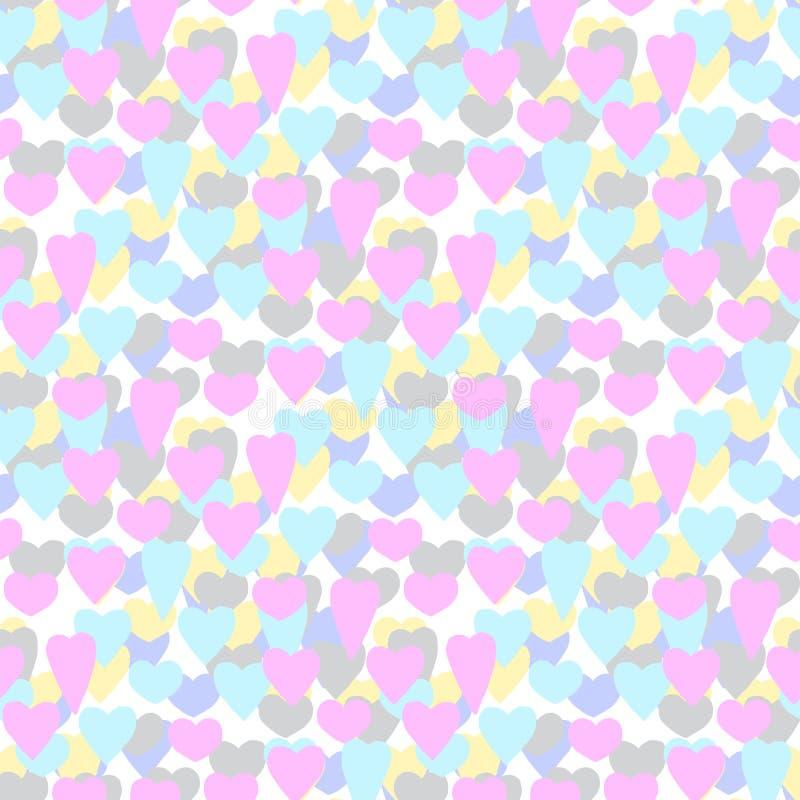 hand-drawn απεικονίσεις χρωματισμένες καρδιές πολυ Ημέρα του βαλεντίνου καρτών πρότυπο άνευ ραφής διανυσματική απεικόνιση