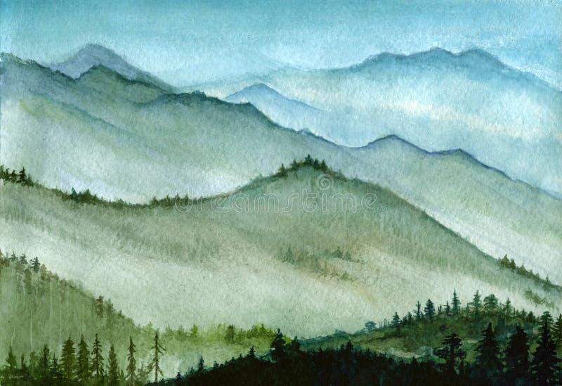 Hand-drawn απεικόνιση Watercolor: υψηλά βουνά με το δάσος σε μια υδρονέφωση διανυσματική απεικόνιση