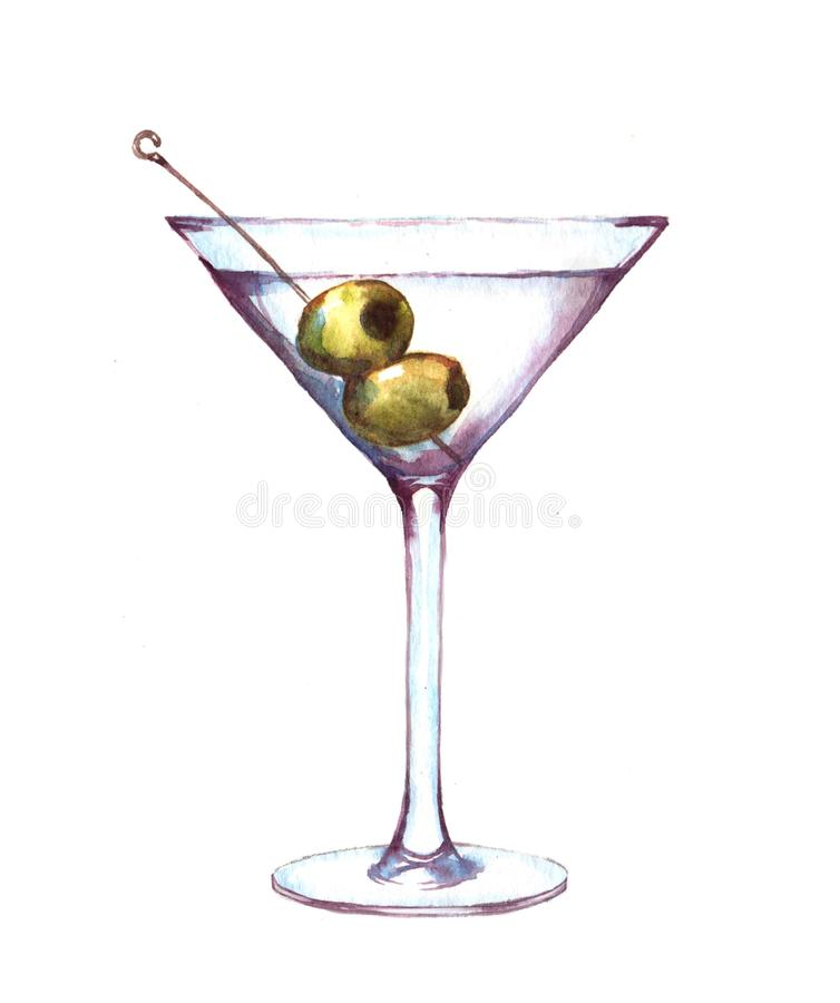 Hand-drawn απεικόνιση watercolor martini στο γυαλί με τις πράσινες ελιές διανυσματική απεικόνιση