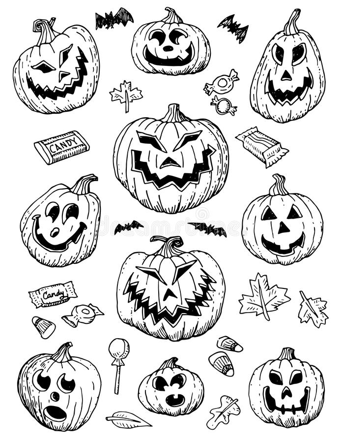Hand-Drawn αποκριές Doodles απεικόνιση αποθεμάτων