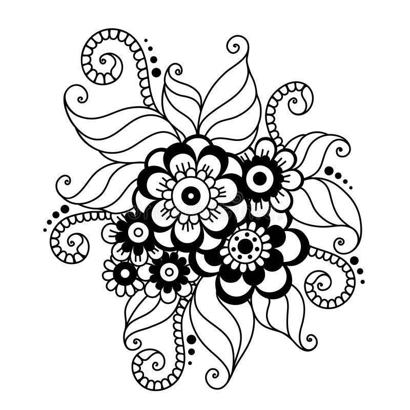 Hand-Drawn αφηρημένη Henna διακόσμηση λουλουδιών Mehndi ελεύθερη απεικόνιση δικαιώματος
