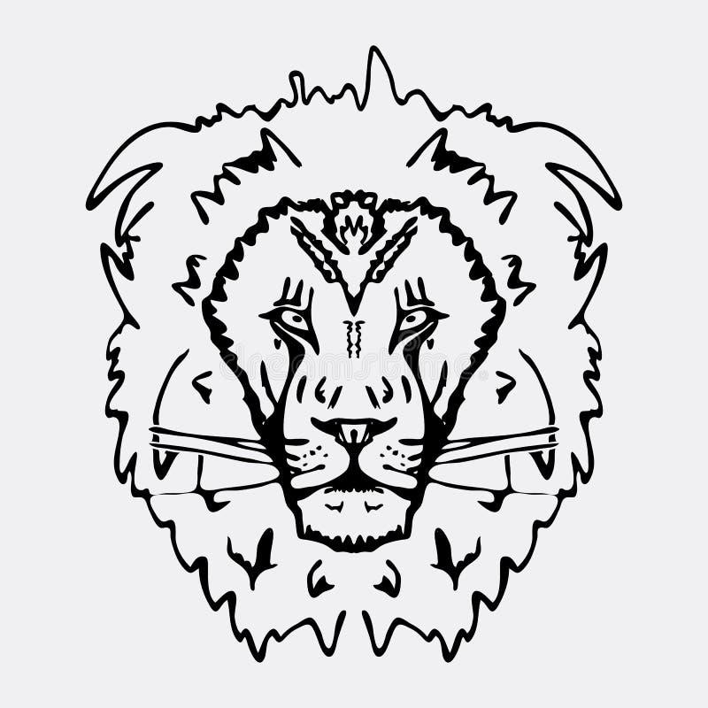 Hand-drawn γραφική παράσταση μολυβιών, κεφάλι λιονταριών Χάραξη, ύφος διάτρητων Γραπτό λογότυπο, σημάδι, έμβλημα, σύμβολο Γραμματ ελεύθερη απεικόνιση δικαιώματος