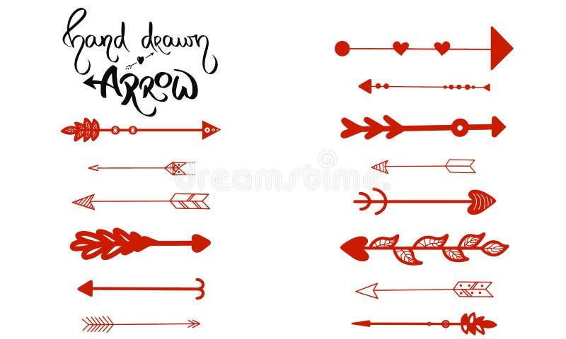 Hand-drawn διάνυσμα βελών Το σύνολο κόκκινων βελών εγγράφου που παρουσιάζουν δεξιά, έφυγε Βέλος για τη ναυσιπλοΐα που απομονώνετα διανυσματική απεικόνιση