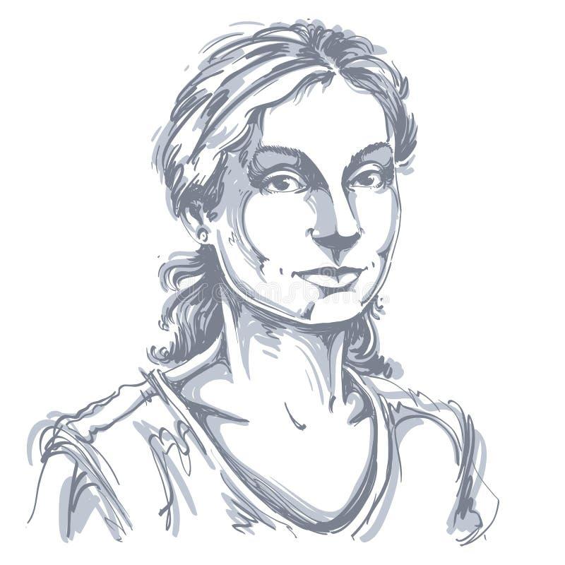 Hand-drawn διανυσματική απεικόνιση της όμορφης καλής γυναίκας Monochro ελεύθερη απεικόνιση δικαιώματος