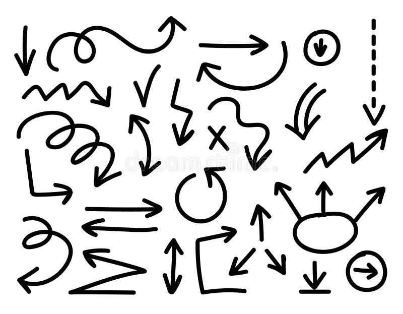 Hand-drawn διανυσματικό σύνολο βελών Σκιαγραφημένα βέλη καθορισμένα απομονωμένα στο wh ελεύθερη απεικόνιση δικαιώματος