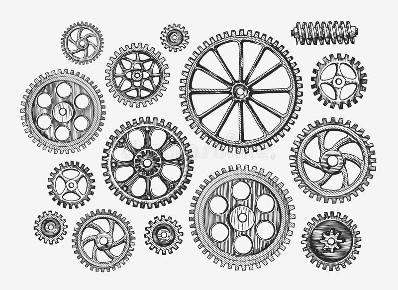 Hand-drawn εκλεκτής ποιότητας εργαλεία, cogwheel Μηχανισμός σκίτσων, βιομηχανία επίσης corel σύρετε το διάνυσμα απεικόνισης διανυσματική απεικόνιση