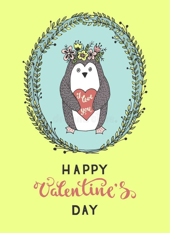 Hand-drawn ευχετήρια κάρτα για την ημέρα βαλεντίνων ` s απεικόνιση αποθεμάτων