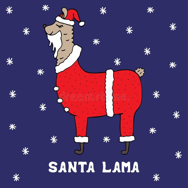 Hand-drawn ζωηρόχρωμος λάμα Santa σε ένα κοστούμι Χριστουγέννων διανυσματική απεικόνιση