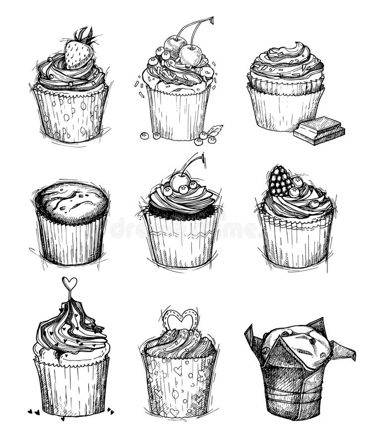 Hand-drawn διανυσματική απεικόνιση - γλυκά cupcakes Απομονωμένος στο whi απεικόνιση αποθεμάτων