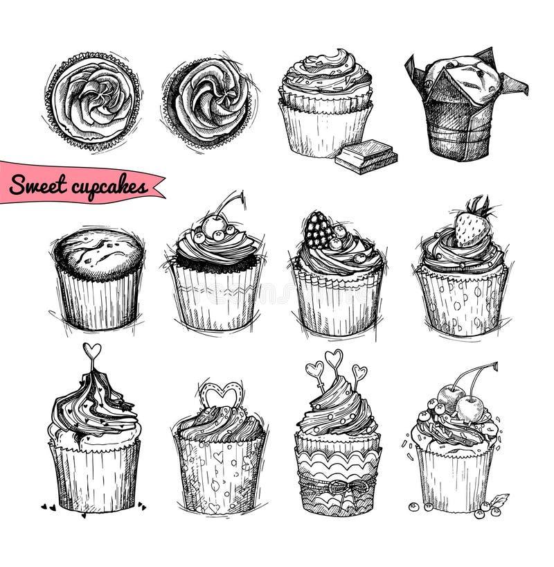 Hand-drawn διανυσματική απεικόνιση - γλυκά cupcakes Τέχνη γραμμών isola διανυσματική απεικόνιση