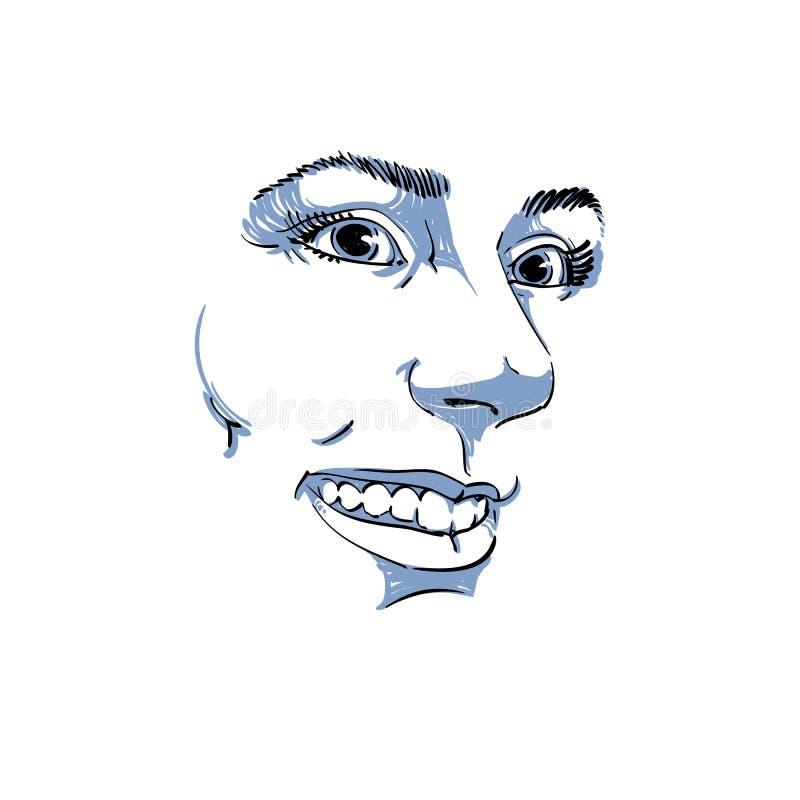 Hand-drawn διανυσματική απεικόνιση της όμορφης χαμογελώντας γυναίκας Monoc διανυσματική απεικόνιση