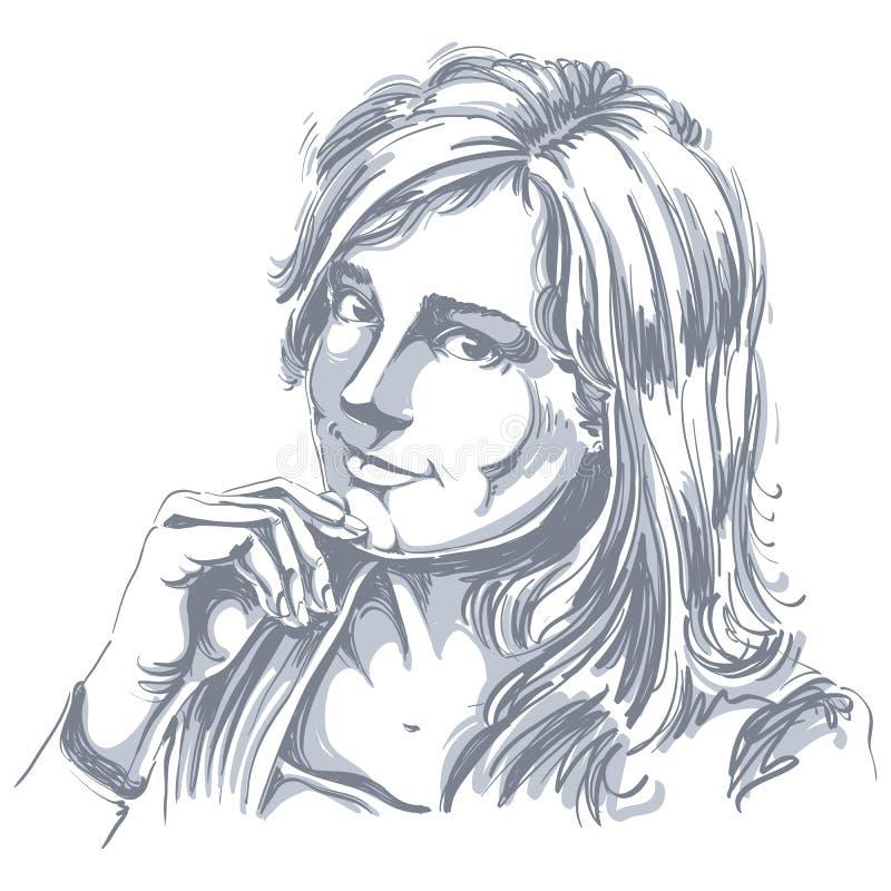 Hand-drawn διανυσματική απεικόνιση του όμορφου ρομαντικού woma αγάπης διανυσματική απεικόνιση